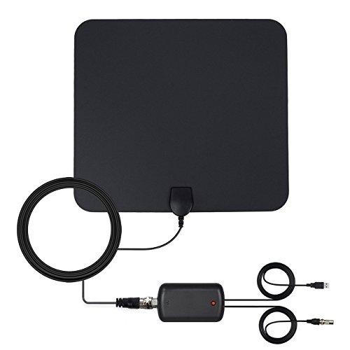 TV antenne binnen freeview, 50 mijl bereik versterkte digitale HDTV antenne met afneembare versterker Booster en 13FT hoge prestaties coax kabel, 1080P VHF/UHF/FM sterke ontvangst - verbeterde versie
