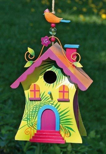VOGELHAUS Designer-Villa 2 Nistkasten aus Holz Höhe ca. 30 cm Gartendeko, Modell:Dach. orange