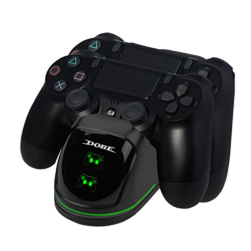 EXTSUD PS4 controller laadstation, dubbele 4 oplader oplader met LED-display en USB-kabel oplader voor Sony Playstation 4 / PS4 Slim / PS 4 Pro draadloze gamecontroller gamepad