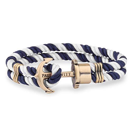 PAUL HEWITT Bracelet Homme PHREP Ancre - Bracelet Cordage Nautique en Nylon (Bleu Marine/Blanc), Cadeau Homme, Bracelet Ancre en Laiton