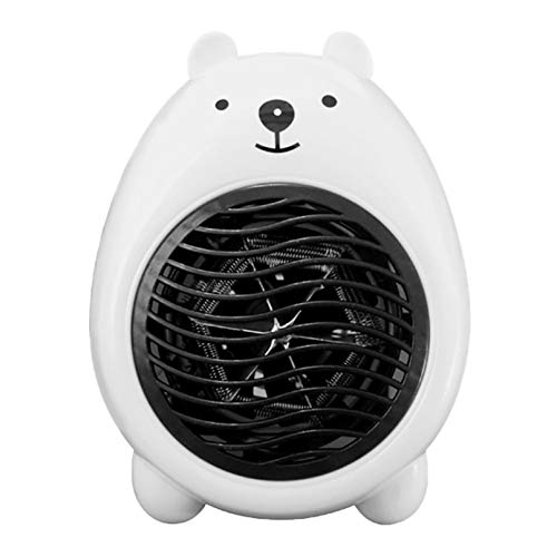 SOWU Portable Creative Electric Heater, Mini Cartoon Heater, Desktop Home Fan, Space Heater for Indoor Use, 3S Quick Heating & Overheat Protection, Best for Living Room, Bedroom, Office, Study (White)
