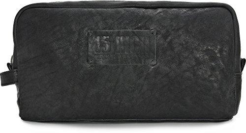 15 INCH BY JEROME WESTFORD, Trousse de toilette Unisexe en cuir toile, sacs à cosmétiques, 30 x 16,5 x 8,5 cm (l x H x P), couleur: noir