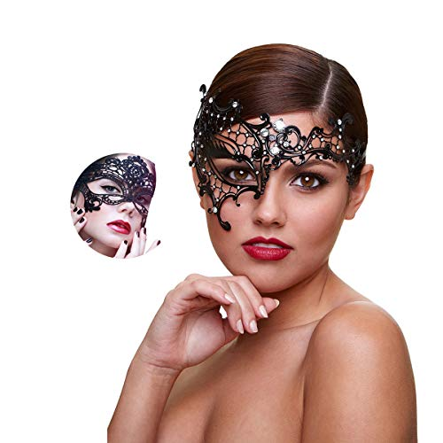 Masquerade Mask for Women Shiny Rhinestone Venetian Party Prom Ball Metal Mask (Half Face)