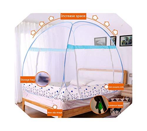 Eileen Ford Multi-Style Yurt Klamboe Luifel Installatie-vrij Huishouden Dubbel Bed Tent 1.2m Opklapbaar Klamboe Draagbaar Camping-haidiyu-Blauw-1.8m (6 Voeten) Bed