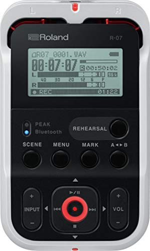 Roland High-Resolution Handheld Audio Recorder, White (R-07-WH) (Renewed)