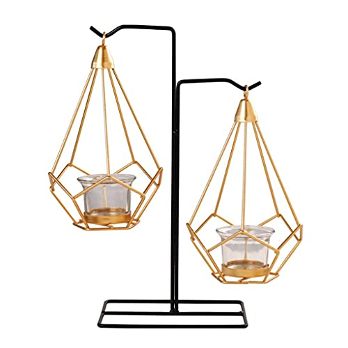 PAKUES-QO Candle Holders Originality Romantic Dinner Geometric Iron Candlestick Wall Candle Stand For Wedding Party Home Decor Gift (Color : B)