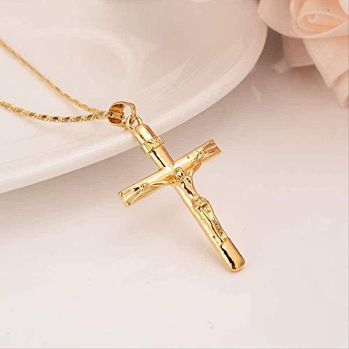 FACAIBA Necklace Gold Cross Necklace Pendant Inri Jesus Crucifix Christianity Jewel 24k Gold Inbi Jesus of Nazareth King of The Jews