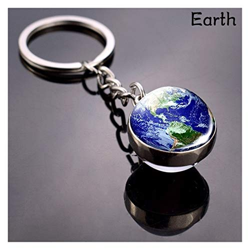 JINSUO Key Chain Solar System Planet Keyring Galaxy Nebula Space Keychain Moon Earth Sun Mars Art Picture Double Side Glass Ball Car Key Chain (Color : M 1 1803 1pcs)