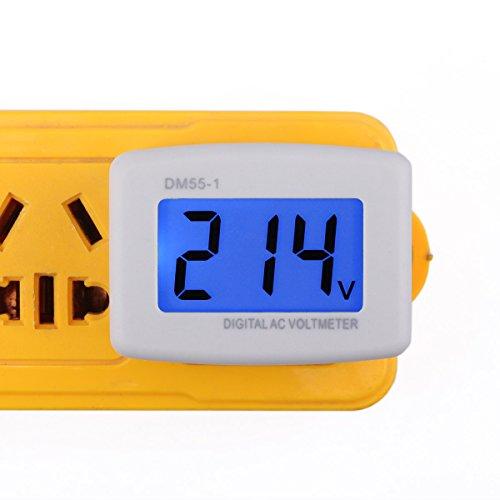 DROK 90538 Flat Plug AC 80-300V Voltage Panel Power Line Volt Test Monitor Gauge Meter AC 110V 220V Digital LCD Voltmeter