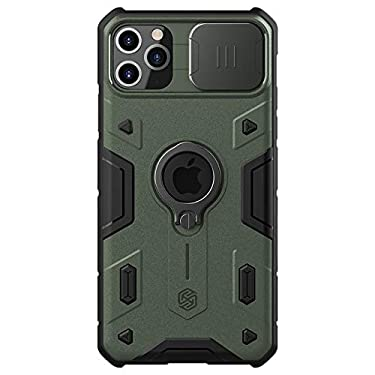 """Nillkin Case for Apple iPhone 11 Pro Max (6.5"""" Inch) CamShield Armor Military Grade Camera Close & Open Double Layered Protection TPU + PC Finish with Kickstand Dark Green"""