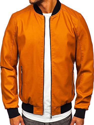BOLF Herren Lederjacke Kunstlederjacke Bikerjacke Übergangsjacke Steppjacke Kapuze Motorradjacke Pilotenjacke Fliegerjacke Bomberjacke Stehkragen Casual Style J.Boyz 1147-1 Camel L [4D4]