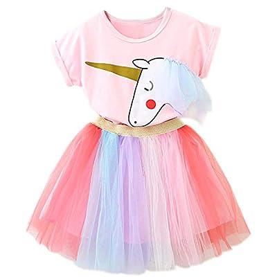 NNJXD Niñas Vestidos Unicornio Conjunto de Ropa de 2 Piezas con Chaquetas Rosas + Faldas de Arco Iris de tutú tamaño?130? 5-6 Años Rosa