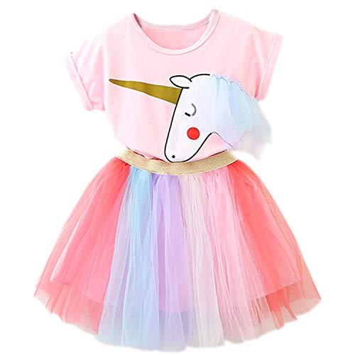 NNJXD Kleine Mädchen Kleider Einhorn 2 Stück Outfits mit rosa Tops + Regenbogen Tutu Röcke Größe(100) 2-3 Jahre Rosa