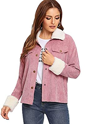 Floerns Women's Button Front Drop Shoulder Contrast Faux Fur Thin Jacket Pink M from