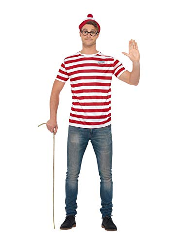 Smiffys Officially Licensed Where's Wally Kit ¿Dónde, color rojo y blanco, XL-Size 46