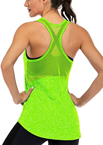 ICTIVE Workout Tank Tops for Women Sleeveless Yoga Tops for Women Mesh Racerback Tank Tops Muscle Tank Workout Tops for Women Backless Running Tank Tops Activewear Gym Tops Neon Green M