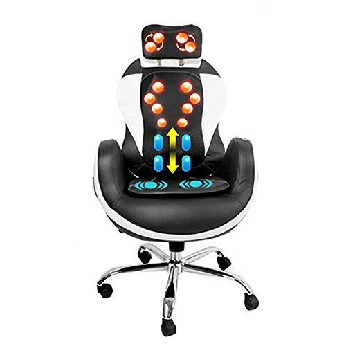 Licidi verwarmde massage-gaming-bureaustoel, draaibare hometrainer, orthopedische stoel met gevlochten rug en lendensteun.