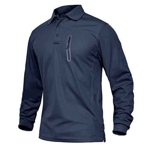 EKLENTSON Herrenhemd Polohemd Golf Poloshirts Langarm Herren mit Kragen und Brusttasche, Navy-RV