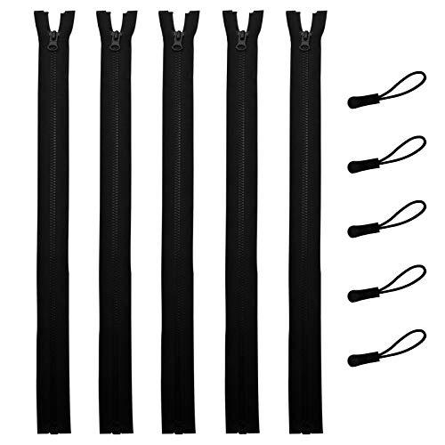 DOITEM 5 Piezas 80 cm # 5 Separación Cremalleras para Chaqueta Coser Abrigos Cremallera Negro Cremalleras de plástico Moldeado