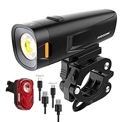 Hosim Bike Lights 800 Lumens Super Bright, USB Type C Fast Rechargeable Bicycle lamp, IPX5 Waterproof Cycle Light for Mountain, Urban Road
