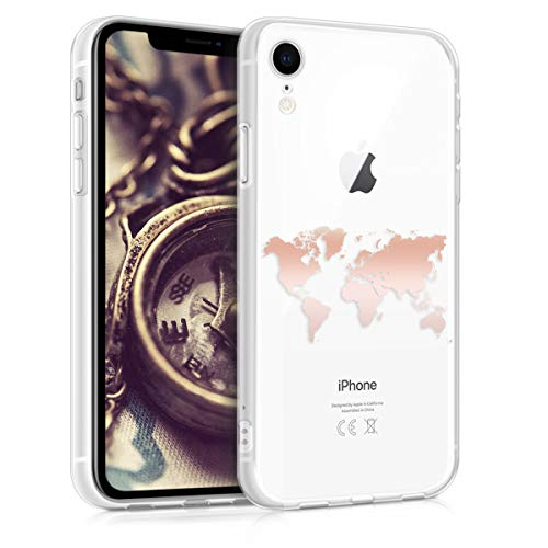 kwmobile Hülle kompatibel mit Apple iPhone XR - Handyhülle - Handy Case Travel Umriss Rosegold Transparent