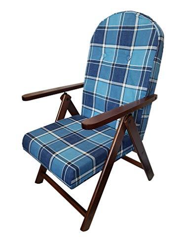 sedia sdraio in legno Totò Piccinni Poltrona Sedia Sdraio Campania Amalfi in Legno reclinabile 4 Posizioni (Azzurro)