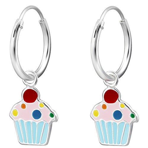 JAYARE bambini-orecchini a cerchio Muffin Cup Cake 925in argento Sterling smaltato 21X 8mm Multicolore Orecchini