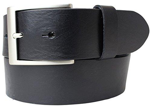 Jeansgürtel aus Vollrindleder 4 cm | Jeans-Gürtel für Damen Herren 40mm | Leder-Gürtel | Schwarz 130cm