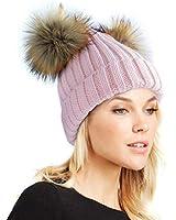 Womens Double Pom Pom Winter Bobble Hat Knitted Faux Raccoon Fur Detachable Ball Cap Adult Beanie Hat