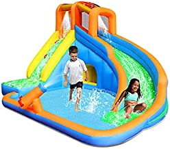 RETRO JUMP Inflatable Water Slide, Kids Pool Waterslide, Backyard Water Park with Blower, Stakes, Water Tube, Storage Bag, Patch Kits Included