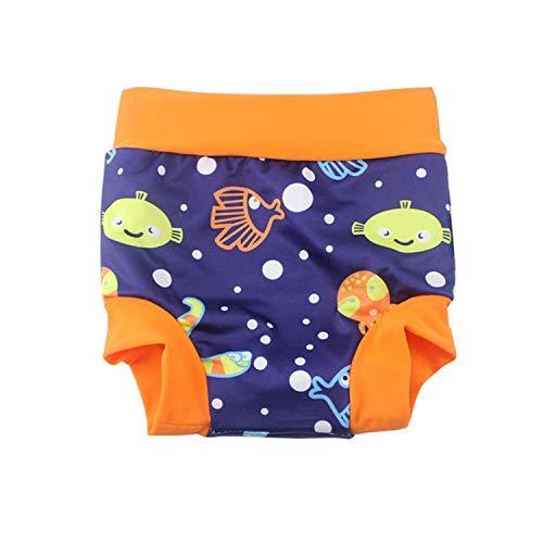 BabyPreg Baby Kind Schwimmen Briefs Abdeckung Windel mit hohen Taille Bauchschutz Badeshorts (Blau (Fisch), 2-3 Jahre)