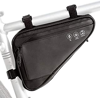 Bike Triangle Frame Bag, Cycling Waterproof Front Handlebar Bag Strap-On Saddle Pouch Storage Tube Bag With Reflective Str...
