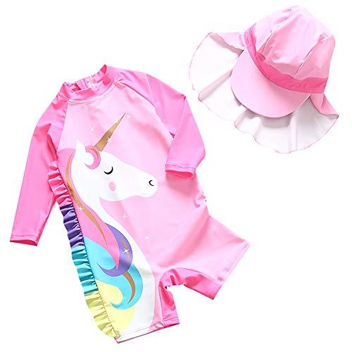 AIWUHE Traje de baño infantil con unicornio, para niña, bañador con gorro UPF 50 + protección UV Rosa. 80/90 cm