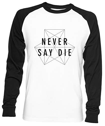 Dubstep Never Say Die Unisex Herren Frau Baseball T-Shirt Weiß Unisex Baseball T-Shirt