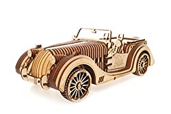 UGEARS VM-01 Roadster Auto - 3D Holzkunst DYI – Modellbau Projekte für Erwachsene und Kinder - 3D Technisches Modell – Aus Sperrholz mit integriertem Getriebe – Großartiges Geschenk für Auto-Liebhaber