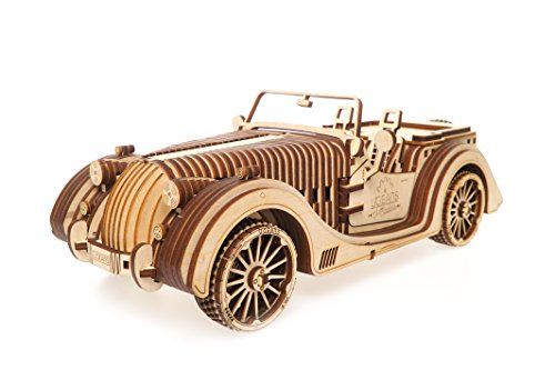 UGears VM-01 Roadster Vehicle – 3D Wooden Art DYI – Fun Projects for Adults and Children – 3D Mechanical Working Model – Plywood Material with Transmission Integrated – Great Gift for Car Lovers