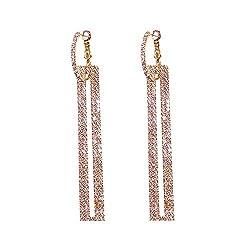 Rose Gold Rectangle Rhinestone long Drop Dangle Earring