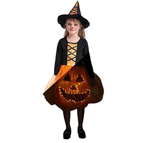 Oneforus Cool Disfraz de Halloween Luminoso Traje para nios Escenario Luminoso Disfraz Disfraz Led Falda Vestido de Calabaza Disfraz