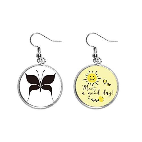Fairy Black Butterfly Art Deco Gift Fashion Ear Drop Sun Flower Earring Jewelry Fashion