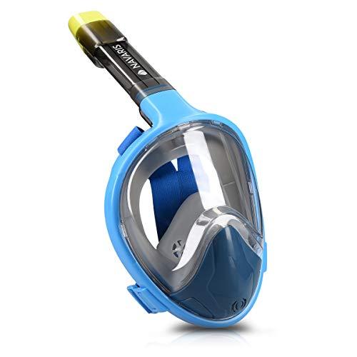 Navaris Máscara de Buceo Plegable - Máscara de Snorkel Anti vaho con Soporte para cámara Deportiva - Máscara Completa Talla S-M en Azul
