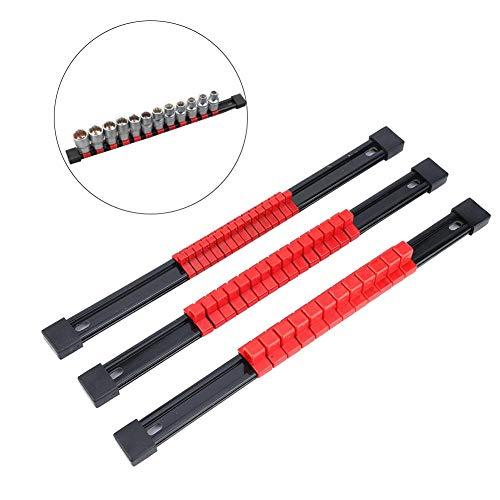 3 stks Plastic Socket Opslag Rack Schuifrailhouder, Monteerbare Organisator, Praktische Thuis Kunststof Houder Duurzaam Monteerbaar stopcontact, 1/2 3/8 1/4 inch Rood