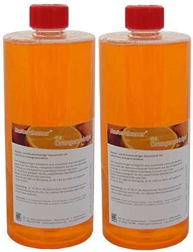 Mastercleaner Orangenreiniger Konzentrat mit nat. Orangenöl der hochwirksame und kraftvolle Allzweckreiniger 2 * 1 Liter Vorteilspack