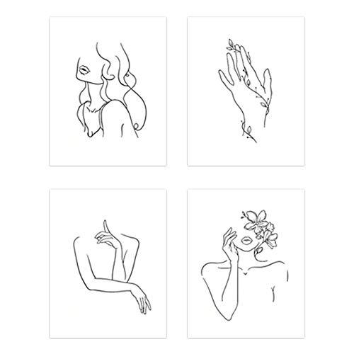 MOVKZACV Arte minimalista de pared sin marco, línea minimalista, decoración abstracta para mujer, impresión moderna, para decoración del hogar, oficina, dormitorio (tamaño: 30 x 40 cm)