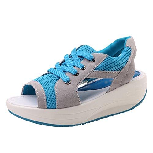 LINNUO Sandalias Plataforma Zapatos con Malla Mujer Peep Toe Sneaker Cuña Casual Zapatillas de Deporte Mocasines Wedge
