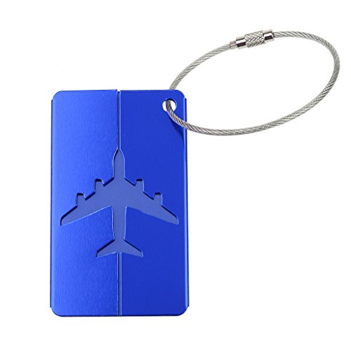 Generic Étiquette de Bagage Nom Adresse Alliage d'Aluminium pour Voyage - Bleu