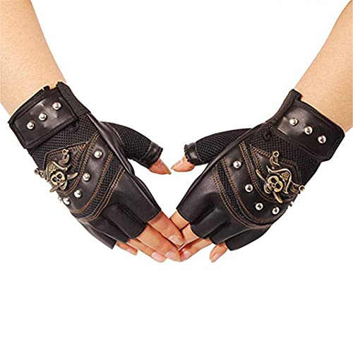 Remaches de Cuero Artificial Guantes de Esqueleto, 1 par de Guantes de Medio Dedo para Montar en Motocicleta Deportes al Aire Libre