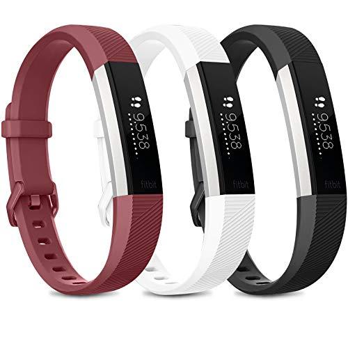 Wanme Compatible with Fitbit Alta Band Alta HR Bracelet, Pack 3 Replacement en TPU Confortable Réglable Sport Bracelet Accessorie pour Fitbit Alta et Alta HR (No Tracker) (02 Black/Wine Red/White, S)