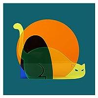 日の出猫カラフルな花瓶、近代的な美術のアクリルの花の花瓶、家の装飾飾り、家族の友人のギフト、2色オプション (Color : Yellow cat)