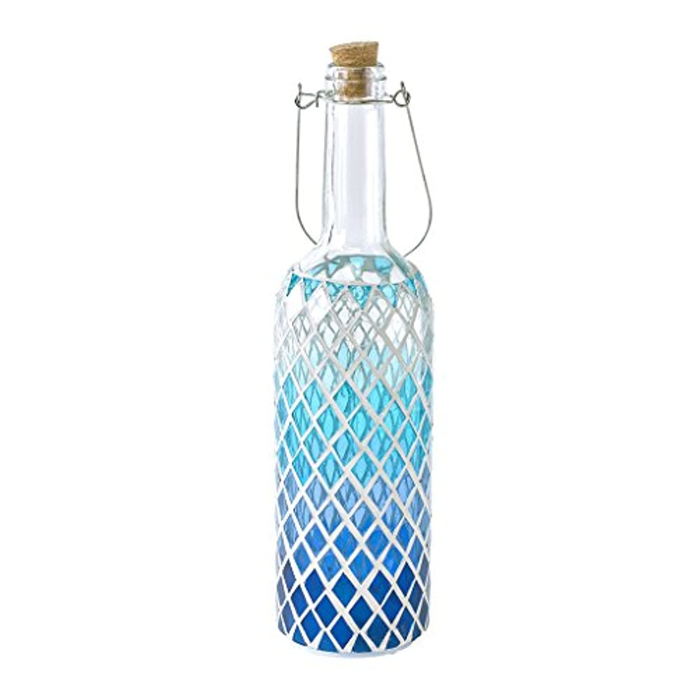 Time Concept LED Mosaic Bottle Lamp - Blue Diamond - Table Centerpiece, Home Decor, Battery-Operated