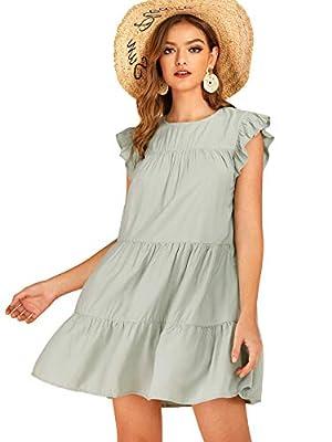Romwe Women's Ruffle Butterfly Sleeve Solid Babydoll Dress Green L